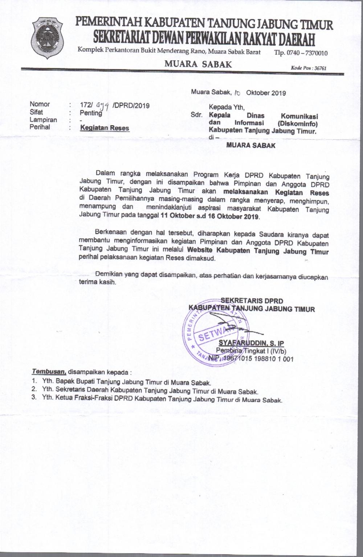 Reses Pimpinan dan Anggota DPRD Tanjung Jabung Timur